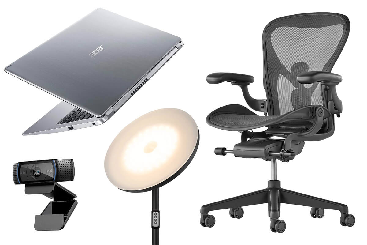Essentials for your Home Office - chair, laptop, webcam