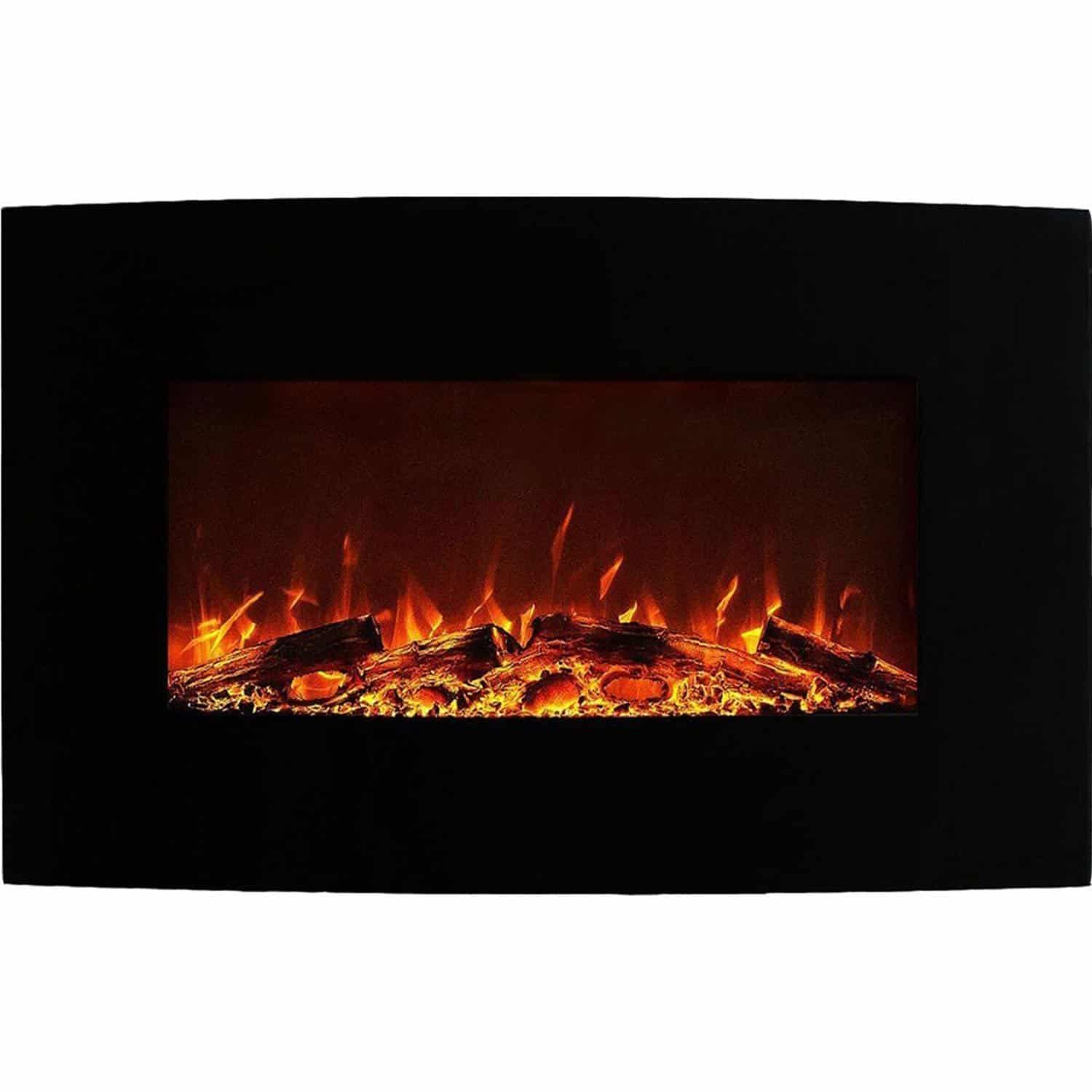 New classic flame electric fireplace inserts make an existing chimney - Neptune 35 Inch Curved Black Wall Mounted Electric Fireplace