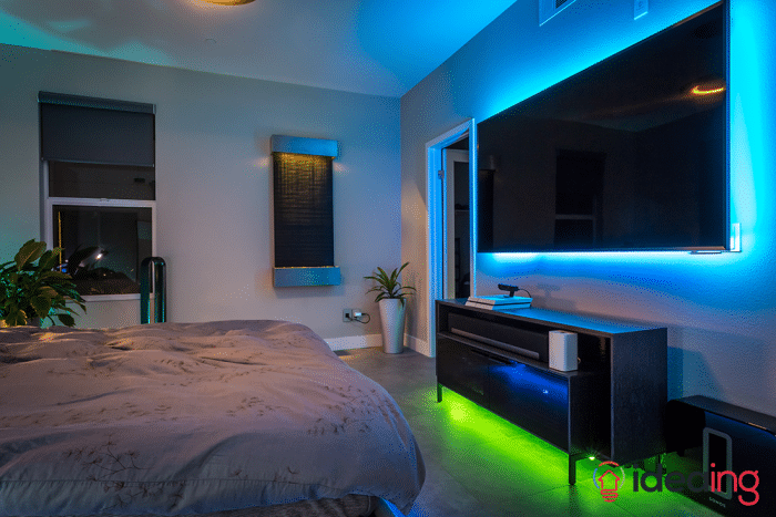 Philips hue lighting tv and shelf