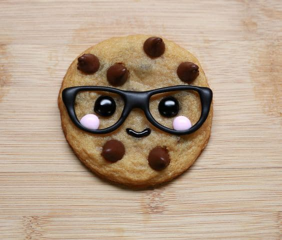 cute smiling cookie with glasses